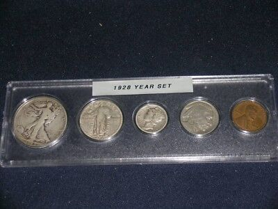 1928 Vintage Circulated Year Set - Nice 5-Coin                          (Set 2)