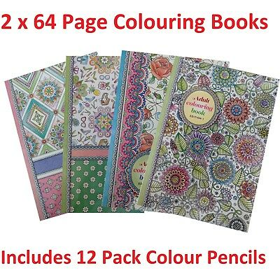 2 x 64 Pg Colour Your Days Adult Colouring Book + 12 Pk Pencils Relaxing Fun
