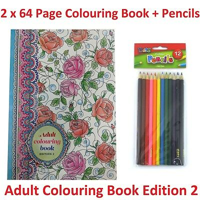 2 x 64 Pg Adult Colouring Book Edition 2 + 12 Pk Pencils Relaxing Fun Artistic