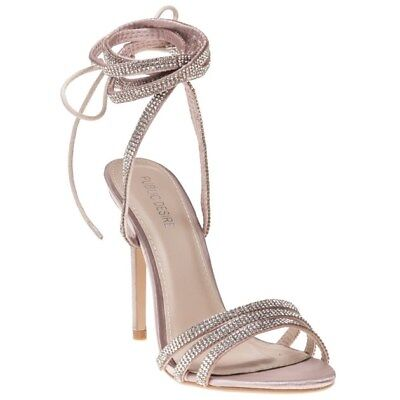 New Womens Public Desire Nude Natural Fatale Satin Sandals High Heels Straps