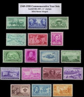 RJames: 1949-1950 Commemorative year sets (17 stamps) , MNH, F-VF