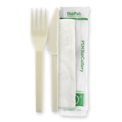 250x Disposable Wrapped Cutlery Set Knife Fork Napkin Off-White Plastic 152mm
