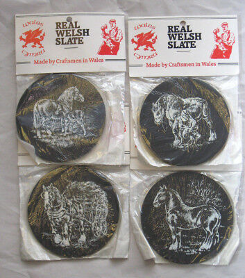 Real Welsh Slate Lot of 4 Coasters New Old Stock Sealed Packaging Vintage