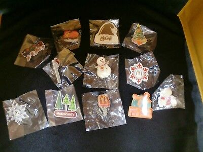 NEW McDonalds Employee Crew Collectable Christmas/Winter Pins Lot of 12