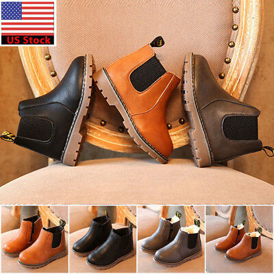 Casual Children Winter Snow Ankle Boots Zippers Boys Girls Warm Chelsea Shoes NG