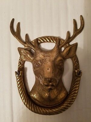 Fritz Brass Vintage 1950s White Tail Deer   Entry Way Door Knocker