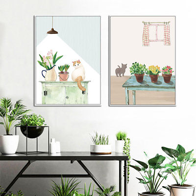 Nordic Abstract Canvas Poster Cat Watercolor Wall Art Print Modern Home Decor