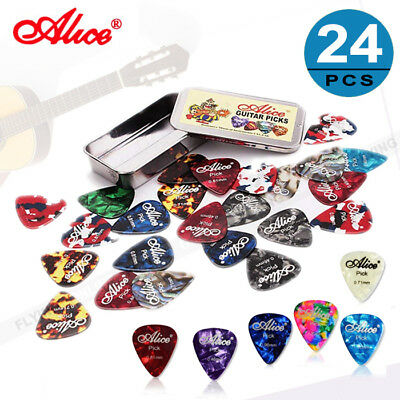 New 24pcs Alice Celluloid Plectrums Acoustic Electric Guitar Colorful Picks