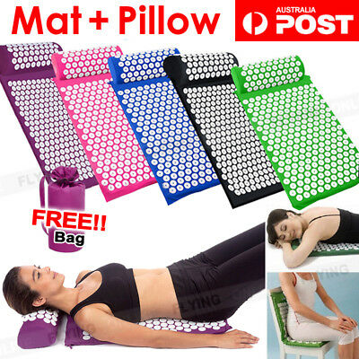 Massage Acupressure Mat Yoga Sit Lying Mats Cut Pain Stress Soreness Pillow