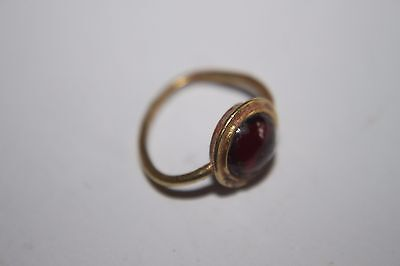 ANCIENT GREEK HELLENISIC GOLD FINGER RING ORIGINAL RED GLASSSTONE 3rd CENTURY BC