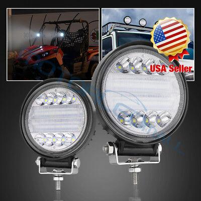 """LED Work Light Round Pods 144W Driving Fog Lamps Combo Offroad 4""""INCH 12V 6000K"""