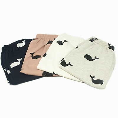 Toddler Baby Boy Girls Whale Print Long Pants Newborn Clothes Outfits 6A