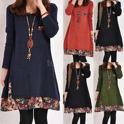 Women Dress Vintage Winter Long Sleeve Tunic Floral Plus Size Casual Tops X7G6