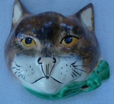 A Retro Babbacombe Pottery Character Cat Head Wall Sconce String Dispenser 1970