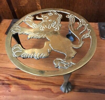 Antique Victorian English Brass Rampant Lion Heavy Weight Trivet