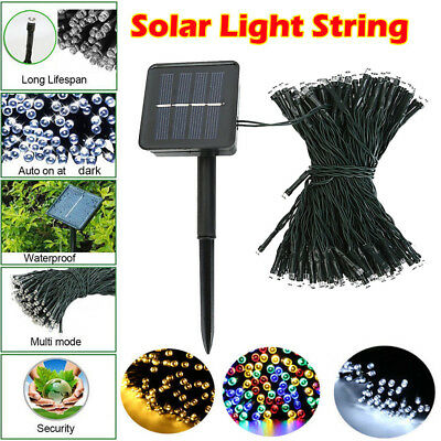 100 200 LED Solar Power Fairy Lights String Garden Outdoor Party Wedding X'mas