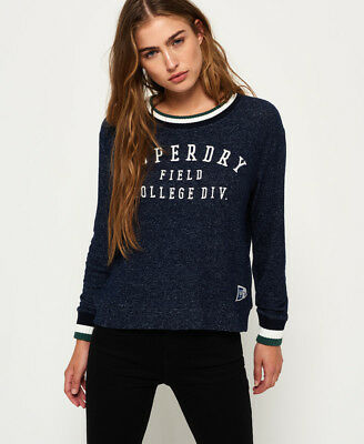 New Womens Superdry Brentwood Sweater Captain Navy Marl
