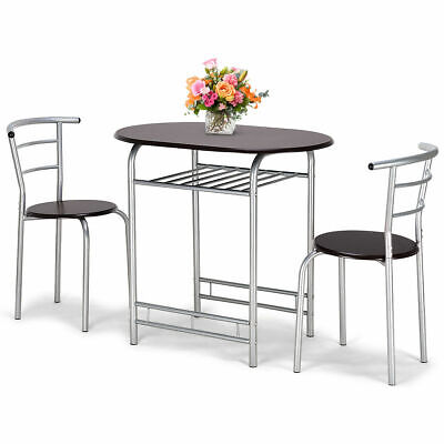 3 PCS Bistro Dining Set Table and 2 Chairs Home Kitchen Breakfast Pub Furniture