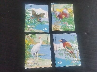 Nepal 1996 Sg 640-643 Butterflies And Birds  Mnh