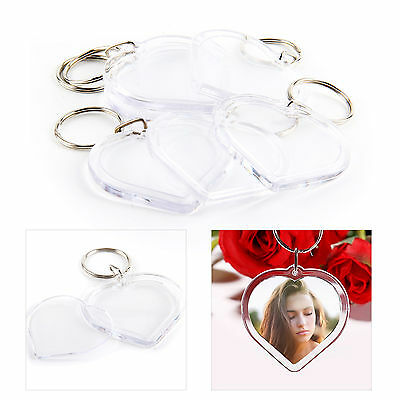 100Pcs Acrylic Plastic Blank Clear Keyrings Heart Shape Photo Key Rings Wedding