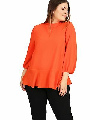 1a207ccd508f9 LOVEDROBE GB WOMENS Plus Size Frill Cold Shoulder Top in Strawberry ...