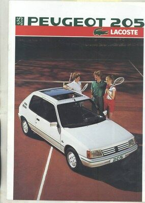 1986 Peugeot 205 Lacoste Edition Brochure French wz6448