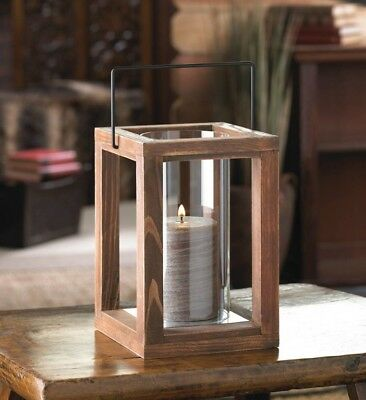 Lot of 4 Rustic Country Stained Wood Garden Pillar Candle Lanterns