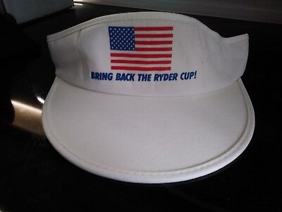 e1132b17485 Vintage BRING BACK THE RYDER CUP VISOR White Hat Cap TEAM USA Golf Digest