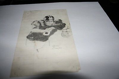 Pencil Drawn  Image of Football Player By  Scott Taylor 1978