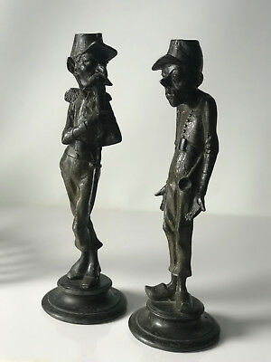 Antique French Pair Of Cast Spelter Caricature Candlesticks by Francois George
