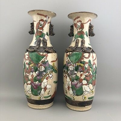 Pair of Antique 19th Century Chinese Famille Verte Crackle Warrior Scenes Vases