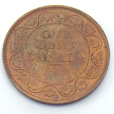 1913 Canada One 1 Cent Red Copper Large Penny Canadian Uncirculated Coin G726