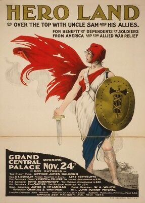 PROPAGANDA WAR WWI USA CHARITY RED STAR UNCLE SAM HORSE RELIEF POSTER BB9233