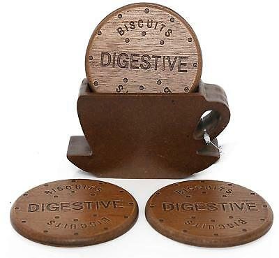 Set Of 4 Wooden Digestive Biscuit Design Coasters With Holder