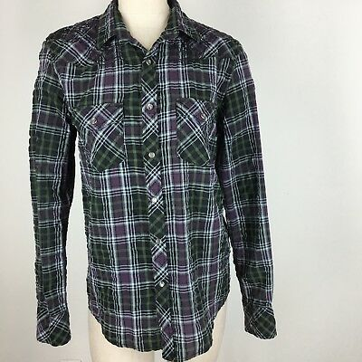 Vintage Red women's western shirt rodeo purple plaid Embroidered Size medium