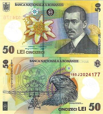 Romania - Unc 50 Lei Banknote Issued 2018 Polymer #p120