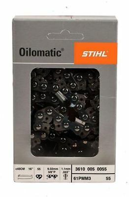 Stihl 16 Inch Chain Chainsaw Bar 3/8 Pitch .043 Gauge 55 Drivers 3610 005 0055