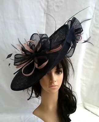Navy Blue with Candy Pink Hatinator ..hat.Large saucer disc Wedding.races.