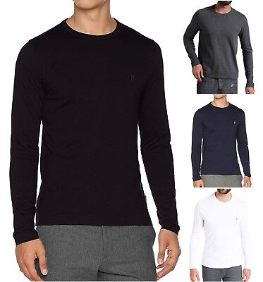 4a38fefbcb751 French Connection Mens Long Sleeve Crew Neck Tee Basic Plain Logo T-Shirt  Top