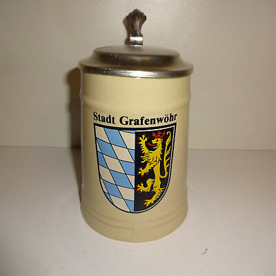 "Beer Mug Stein "" City Gafenwöhr "" with Tin Lid 0,5 L Beer"