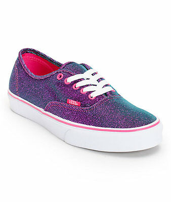 48b3c85b0e2 VANS Authentic MAGENTA SHIMMER Womens Shoes (NEW) Purple Pink Sparkle FREE  SHIP!