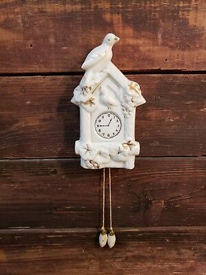 Vintage Cuckoo Clock Wall Pocket w/ Acorn 'Weights' /Japan/  White w/ Gold Trim