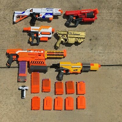 Lot Of 6 Different Nerf Guns 12 Cartridges Accessories