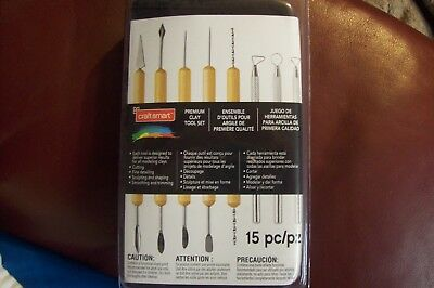 craftsmart 15pc premium clay sculpting tool set with canvas carrying case