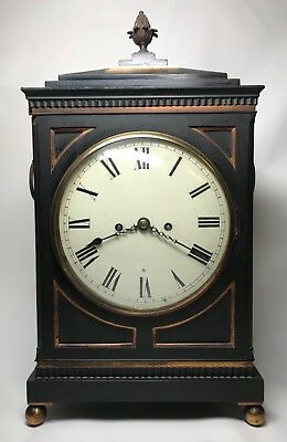 Early 19th Century Ebony or Ebonized  Regency Fusee Bracket Clock with Bracket.