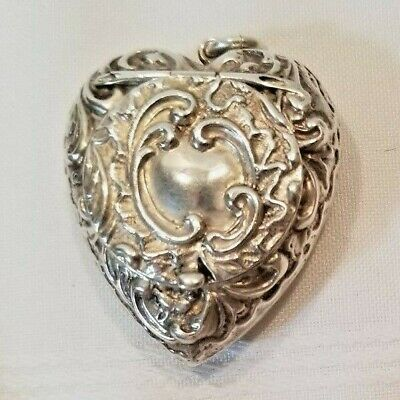 Victorian Sterling Silver Heart Pendant Locket Box - 1899