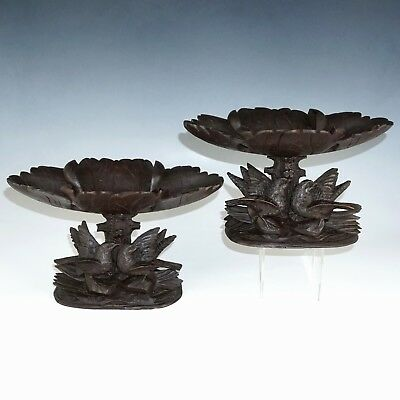Pair Antique Black Forest Hand Carved Wood Tazzas Compotes Trays, Figural Birds