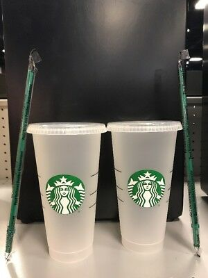 2 New Starbucks Reusable Venti 24 fl oz Frosted Ice Cold Drink Cups White Logo
