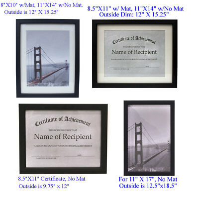choice of different size picture frames diploma certificate
