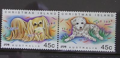 Christmas Island Stamps 1994 Year of the Dog (2) MUH & M/S (2)x1 Mint x1 P/M